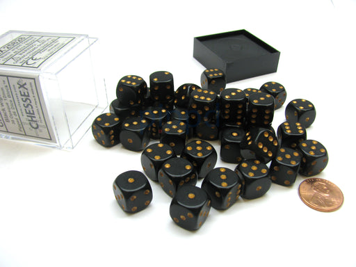 Opaque 12mm D6 Chessex Dice Block (36 Die) - Black with Gold Pips