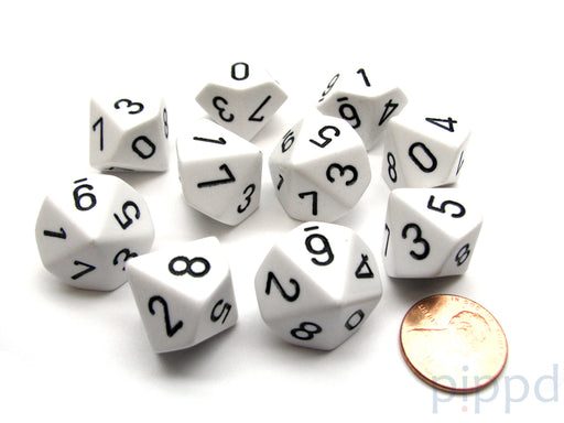 Pack Of 10 Chessex Opaque D10 Dice - White with Black Numbers