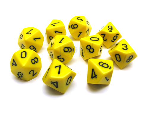 Pack Of 10 Chessex Opaque D10 Dice - Yellow with Black Numbers