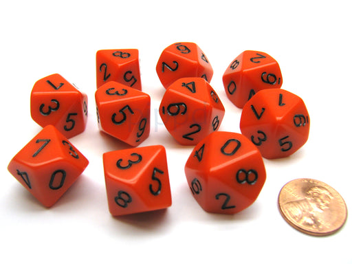 Pack Of 10 Chessex Opaque D10 Dice - Orange with Black Numbers