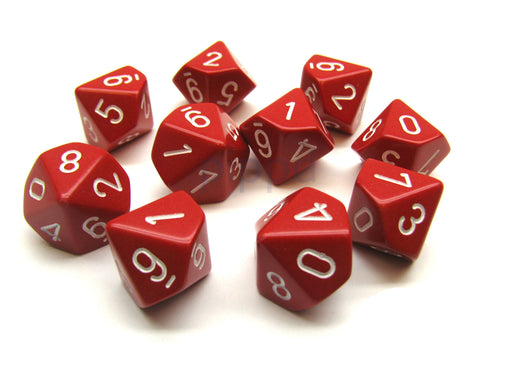Pack Of 10 Chessex Opaque D10 Dice - Red with White Numbers