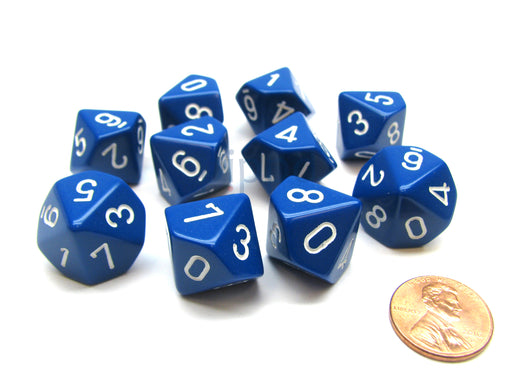 Pack Of 10 Chessex Opaque D10 Dice - Blue with White Numbers