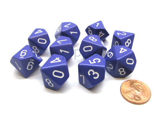 Pack Of 10 Chessex Opaque D10 Dice - Purple with White Numbers
