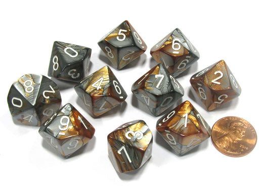 Set of 10 Chessex Gemini D10 Dice - Copper-Steel with White Numbers