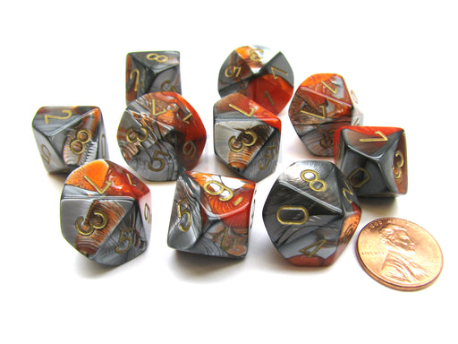 Pack Of 10 Chessex Gemini D10 Dice - Orange-Steel with Gold Numbers