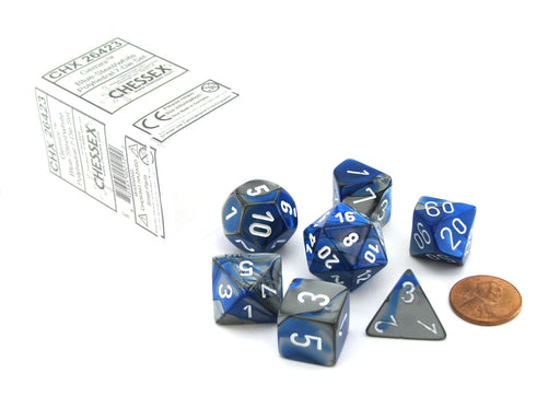 Polyhedral 7-Die Gemini Chessex Dice Set - Blue-Steel with White Numbers