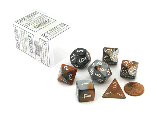 Polyhedral 7-Die Gemini Chessex Dice Set - Copper-Steel with White Numbers