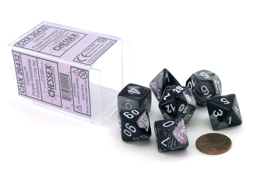 Polyhedral 7-Die Gemini Chessex Dice Set - Purple-Steel with White Numbers