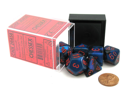 Polyhedral 7-Die Gemini Chessex Dice Set - Black-Starlight with Red Numbers