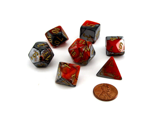 Polyhedral 7-Die Gemini Chessex Dice Set - Orange-Steel with Gold Numbers