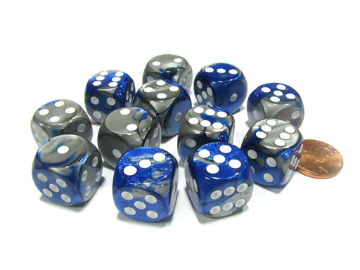 Gemini 16mm D6 Chessex Dice Block (12 Dice) - Blue-Steel with White Pips