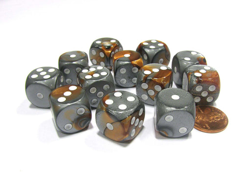 Gemini 16mm D6 Chessex Dice Block (12 Dice) - Copper-Steel with White Pips
