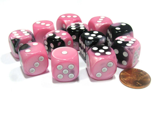 Gemini 16mm D6 Chessex Dice Block (12 Dice) - Black-Pink with White Pips