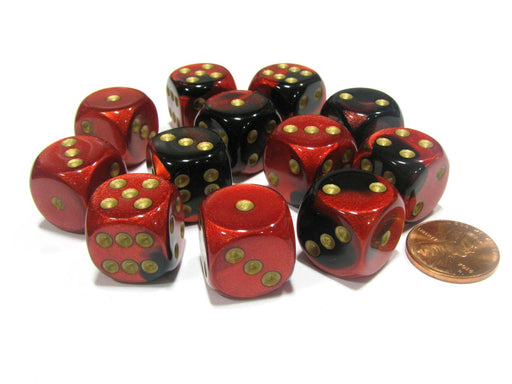 Gemini 16mm D6 Chessex Dice Block (12 Dice) - Black-Red with Gold Pips