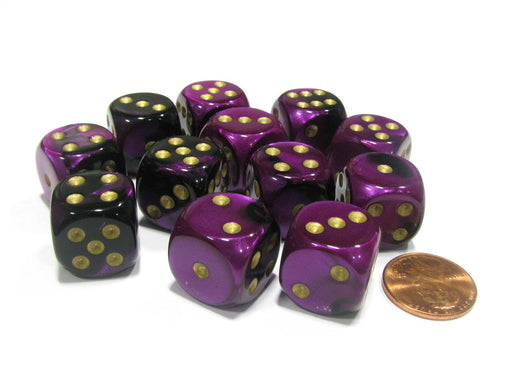 Gemini 16mm D6 Chessex Dice Block (12 Dice) - Black-Purple with Gold Pips