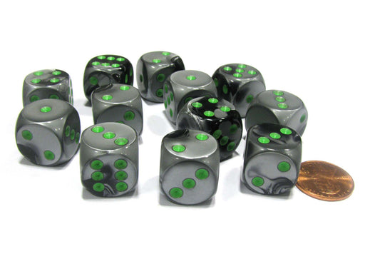 Gemini 16mm D6 Chessex Dice Block (12 Dice) - Black-Grey with Green Pips