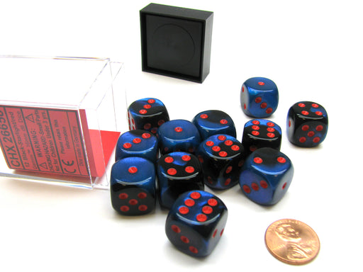 Gemini 16mm D6 Chessex Dice Block (12 Die) - Black-Starlight with Red Pips