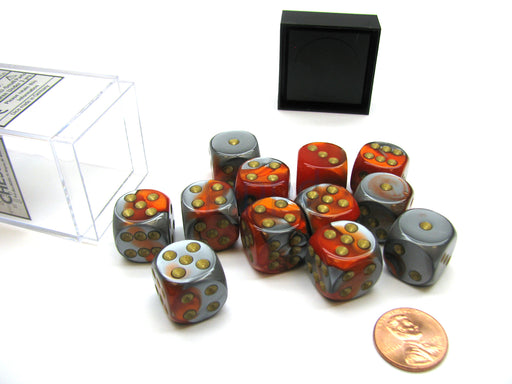 Gemini 16mm D6 Chessex Dice Block (12 Die) - Orange-Steel with Gold Pips