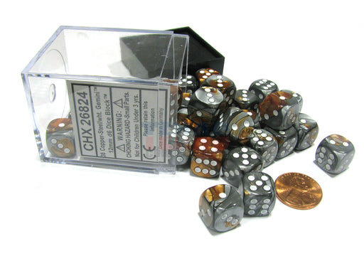 Gemini 12mm D6 Chessex Dice Block (36 Dice) - Copper-Steel with White Pips
