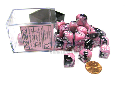 Gemini 12mm D6 Chessex Dice Block (36 Dice) - Black-Pink with White Pips