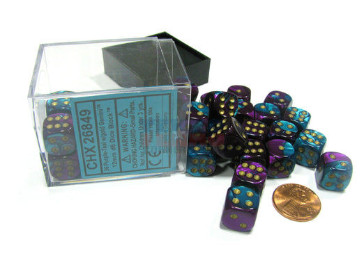 Gemini 12mm D6 Chessex Dice Block (36 Dice) - Purple-Teal with Gold Pips