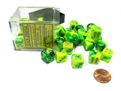 Gemini 12mm D6 Chessex Dice Block (36 Dice) - Green-Yellow with Silver Pips