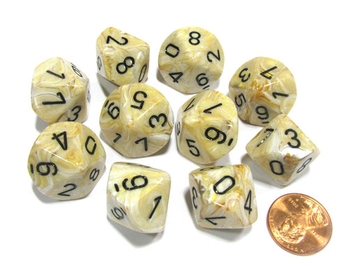 Set of 10 Chessex Marble D10 Dice - Ivory with Black Numbers