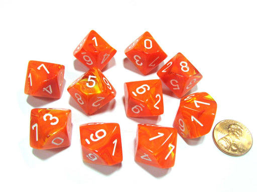 Set of 10 Chessex Vortex D10 Dice - Solar Orange with White Numbers