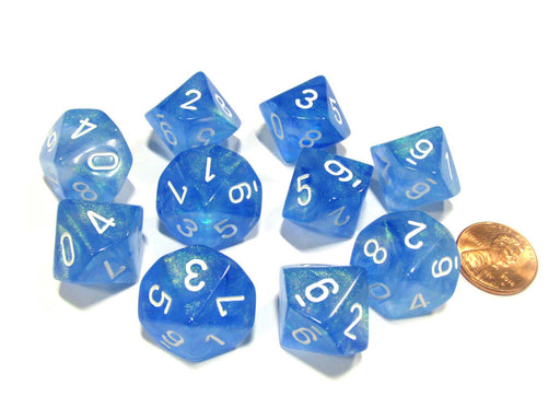 Set of 10 Chessex Borealis D10 Dice - Sky Blue with White Numbers
