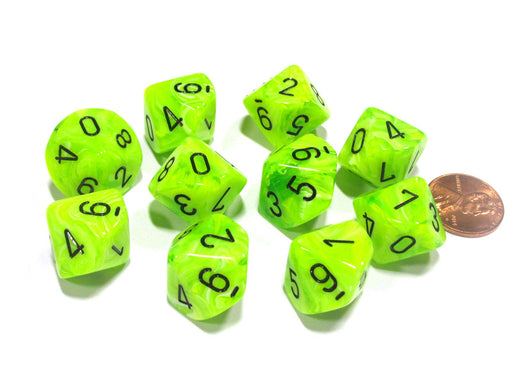 Set of 10 Chessex Vortex D10 Dice - Bright Green with Black Numbers