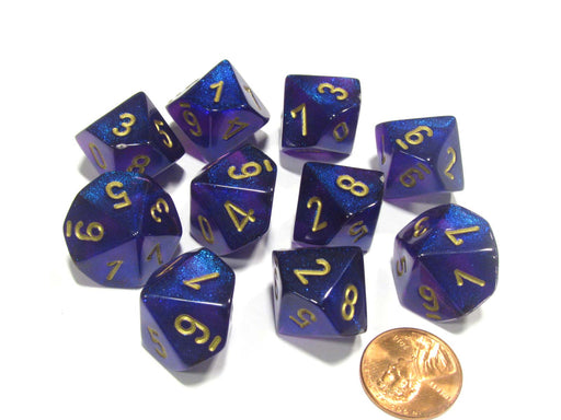 Set of 10 Chessex Borealis D10 Dice - Royal Purple with Gold Numbers