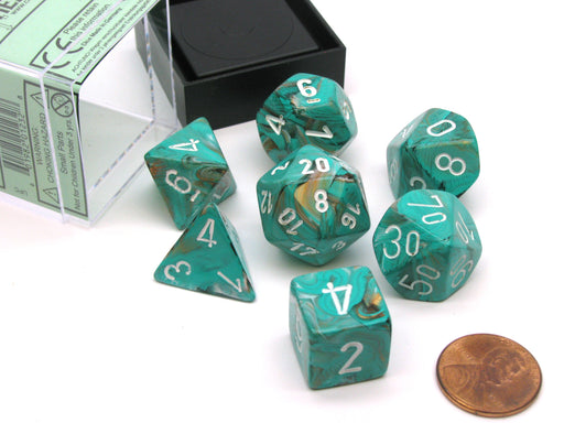 Polyhedral 7-Die Marble Chessex Dice Set - Oxi-Copper with White Numbers