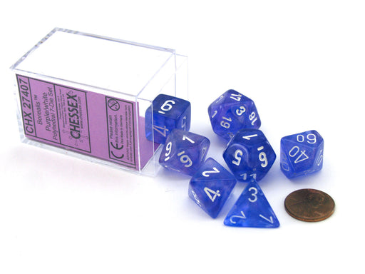 Polyhedral 7-Die Borealis Chessex Dice Set - Purple with White Numbers