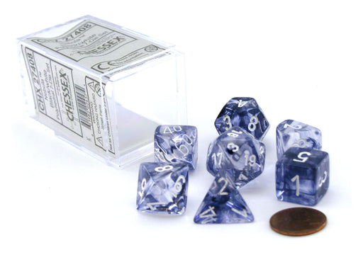 Polyhedral 7-Die Nebula Chessex Dice Set - Black with White Numbers
