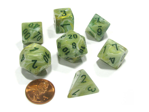 Polyhedral 7-Die Marble Chessex Dice Set - Green with Dark Green Numbers