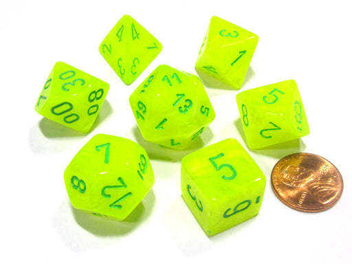 Polyhedral 7-Die Vortex Chessex Dice Set - Bright Electric Yellow with Green