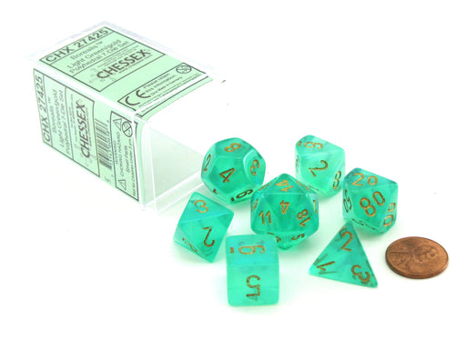 Polyhedral 7-Die Borealis Chessex Dice Set - Light Green with Gold Numbers