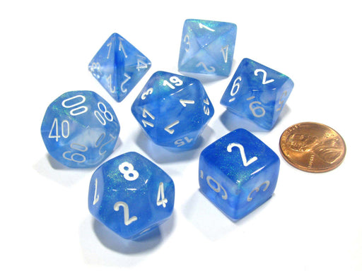 Polyhedral 7-Die Borealis Chessex Dice Set - Sky Blue with White Numbers