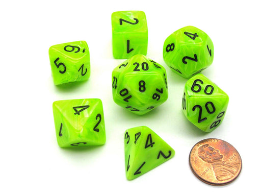 Polyhedral 7-Die Vortex Chessex Dice Set - Bright Green with Black Numbers