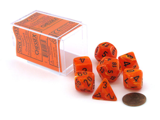 Polyhedral 7-Die Vortex Chessex Dice Set - Orange with black