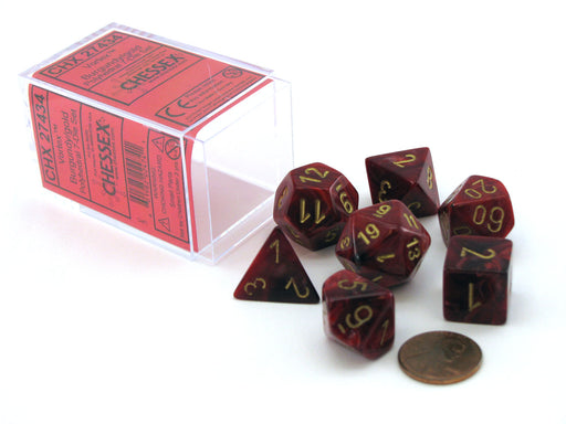 Polyhedral 7-Die Vortex Chessex Dice Set - Burgundy with Gold Numbers