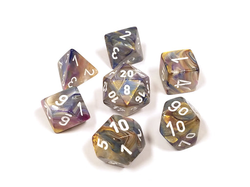 Polyhedral 7-Die Festive Chessex Dice Set - Carousel with White Numbers