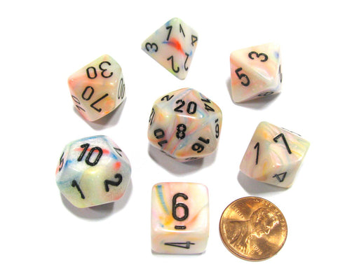 Polyhedral 7-Die Festive Chessex Dice Set - Circus with Black Numbers