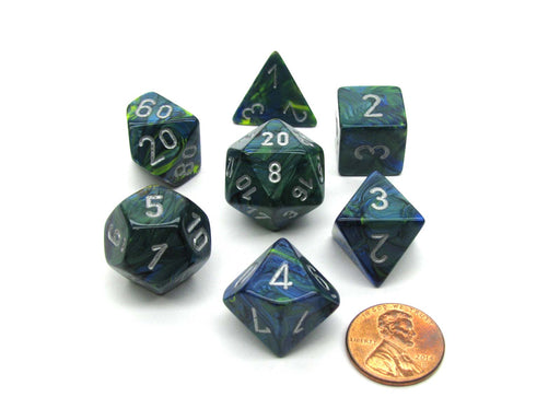 Polyhedral 7-Die Festive Chessex Dice Set - Green with Silver Numbers