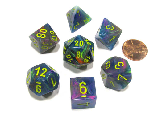 Polyhedral 7-Die Festive Chessex Dice Set - Rio with Yellow Numbers
