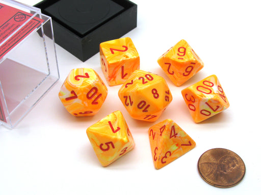 Polyhedral 7-Die Festive Chessex Dice Set - Sunburst with Red Numbers