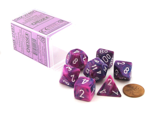 Chessex Polyhedral 7-Die Festive Dice Set - Violet (Purple) with White Numbers