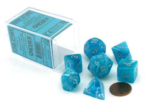 Polyhedral 7-Die Cirrus Chessex Dice Set - Aqua with Silver Numbers