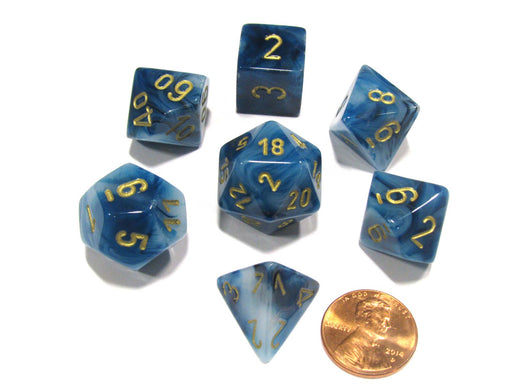 Polyhedral 7-Die Phantom Chessex Dice Set - Teal with Gold Numbers