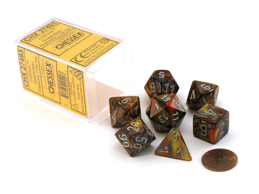 Polyhedral 7-Die Lustrous Chessex Dice Set - Gold with Silver Numbers
